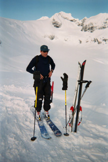 On a split snowboard in the Canadian Rockies