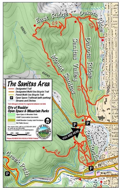 Mount Sanitas Boulder CO Fastest Known Time - Boulder bike path map